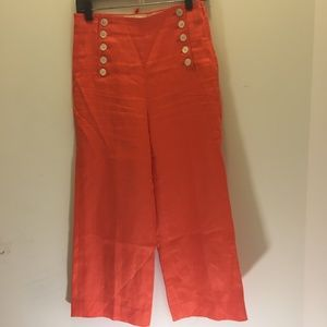 J Crew Orange Linen Sailor Pants Lace up Back  0P